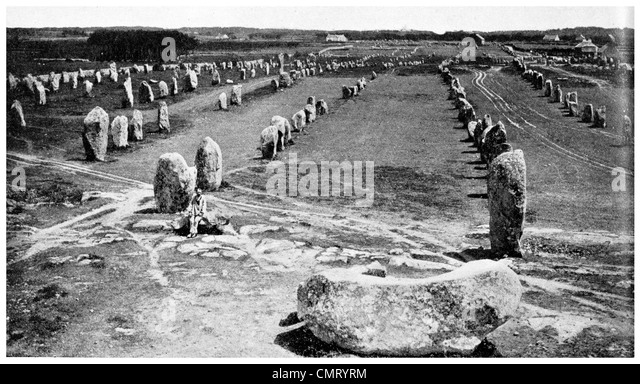 1923 megaliths standing stones at Carnac, Brittany, France - Stock Image