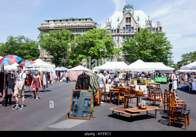 Brooklyn New York City NYC NY Fort Greene Flea Market open-air market shopping vintage clothes crafts furniture - Stock Image