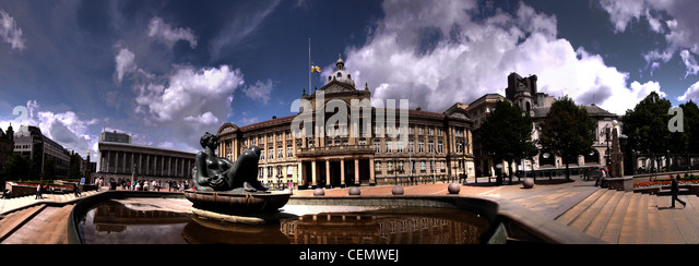Birmingham Victoria Square, West Midlands, England, UK Panorama - Stock Image