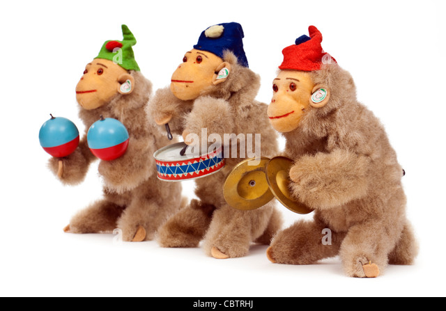 Set of three vintage wind-up 'Jolly Musical Monkeys' from 1956 by DRGM of West Germany - Stock Image