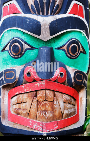 Canada, British Columbia, Vancouver, First Nation totem pole at Capilano Suspension Bridge and Park - Stock Image