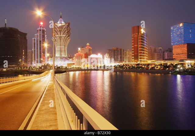 View Of Downtown Macau From Macau To Taipa Bridge - Stock Image