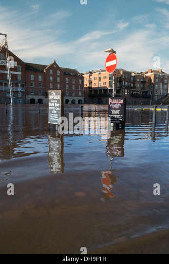 Flood waters from the River Ouse overcome York City Centre - Stock Image