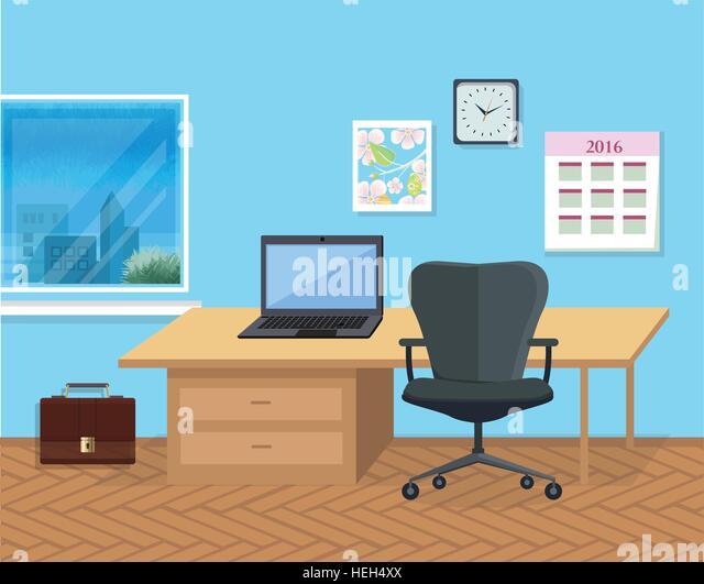 Interior Office Room. Illustration for Design. Modern office interior with designer desktop in flat design. Interior - Stock-Bilder
