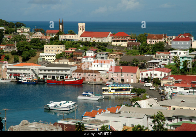 GRENADA Caribbean St Georges Harbour Overview southern caribbean above - Stock Image