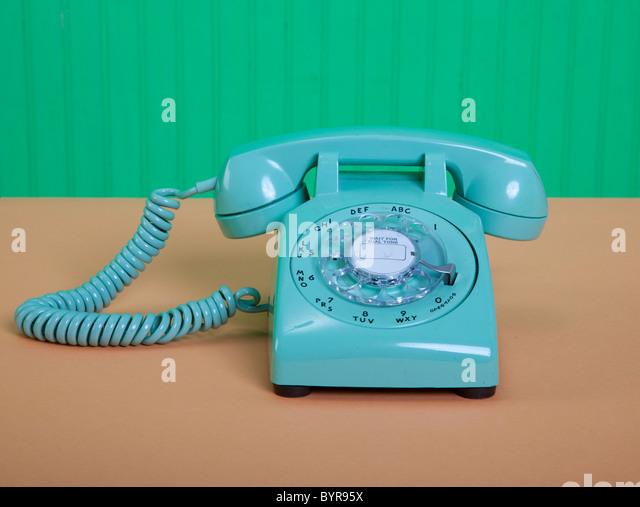 vintage American green telephone - Stock Image