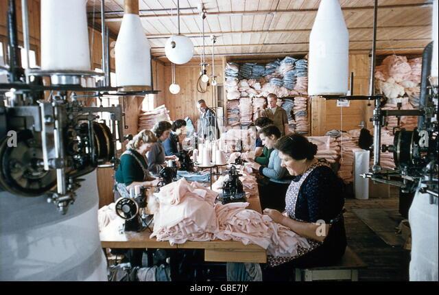 industry, textile industry, sewing room, Burgfelden, Baden-Wuerttemberg, 1950s, - Stock Image