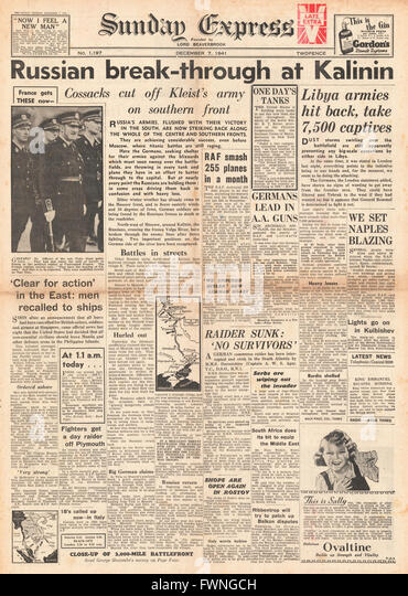 1941 front page Sunday Express Russian Army break through at Kalinin and Battle for Libya - Stock Image