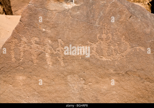 Close up of image of boat towing on rock at Winklers famous Rock-Art site 26 in Wadi Abu Wasil in the Eastern Desert - Stock Image