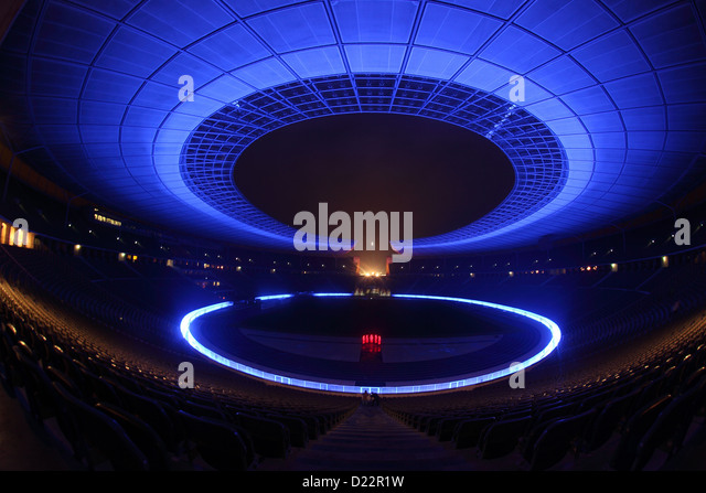 Berlin, Germany, Waechter time in the Olympic Stadium during the Festival of Lights 2012 - Stock Image