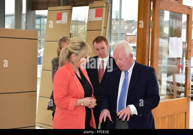 Dungannon, UK. 16th Mar, 2016. Michelle O'Neill ,Minister of Agriculture and Rural Development visited the Linen - Stock Image