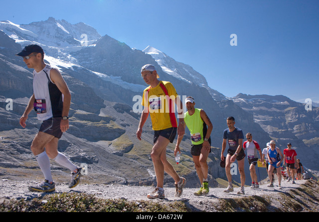 Jungfrau marathon, marathon, mountain run, run, sport, nicest mountain scenery, landscape, mountain, mountains, - Stock Image