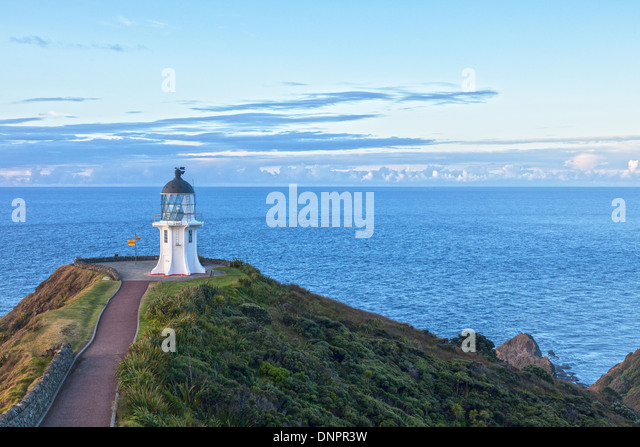 Cape Reinga is at the northern tip of New Zealand's North Island, though not quite the most northerly point. - Stock Image