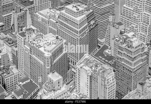 Black and white picture of highrise buildings, Manhattan in New York City, USA. - Stock Image