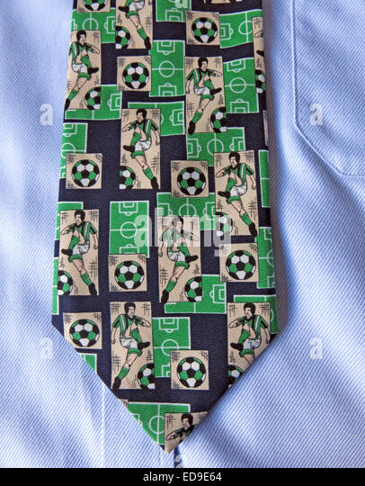 Interesting vintage Football fan tie, male neckware in silk - Stock Image