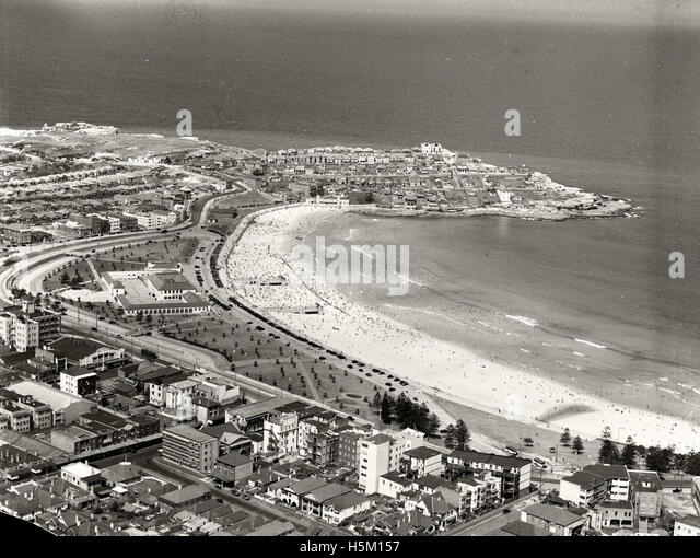 Bondi Beach and Ben Buckler looking North - 1937 - Stock Image