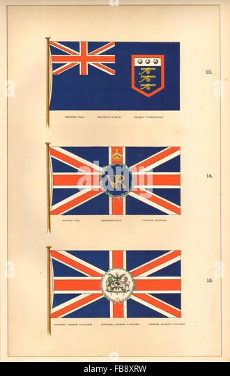 BRITISH FLAGS. Ordnance Military Ministers' Charges d'Affaires. HOUNSELL, 1873 - Stock Image