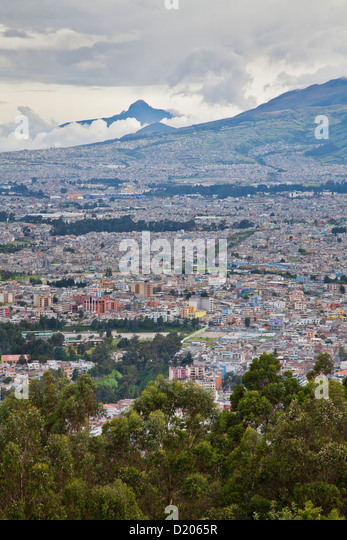 The town of Quito seen from Panecillo looking south, Ecuador, South America - Stock Image