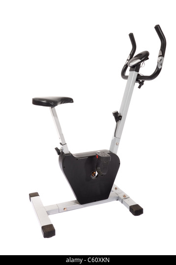 Stationary bike, gym machine isolated on white - Stock Image