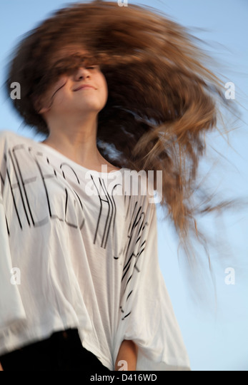 Young Girl with Wild Hair - Stock-Bilder