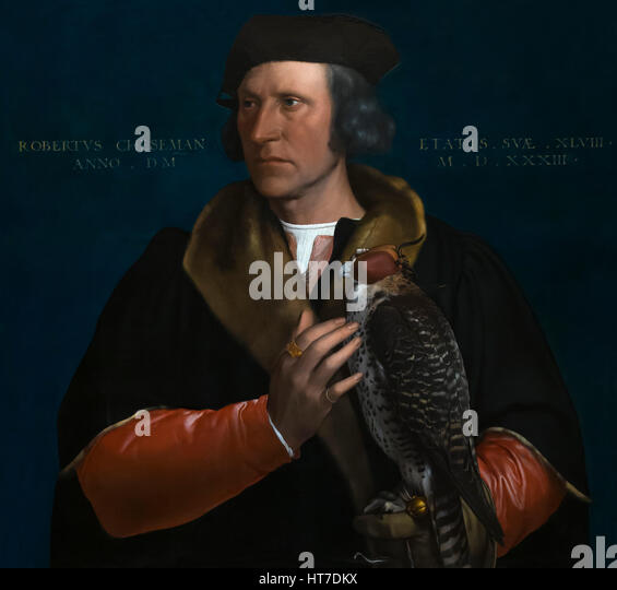 Portrait of Robert Cheseman, Chief Falconer to Henry VIII, by Hans Holbein the Younger, 1533, Royal Art Gallery, - Stock Image