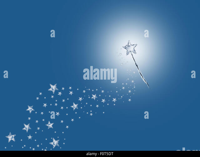 A magic wand made of water leaving a trail of stars. - Stock-Bilder