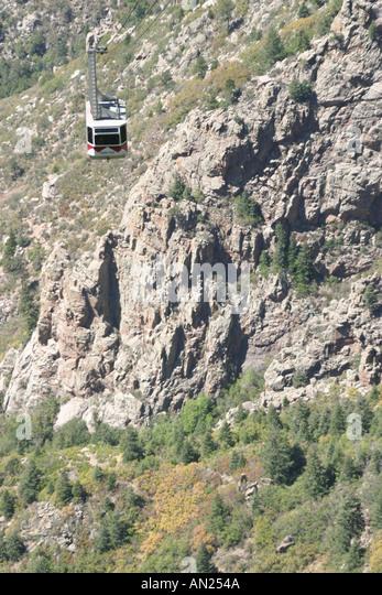 New Mexico Albuquerque Sandia Peak Aerial Tramway world's longest - Stock Image