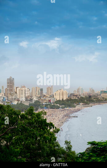 Chowpatty Beach and the Marine Drive Mumbai - Stock Image
