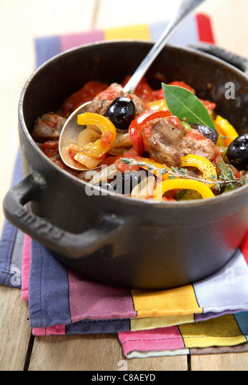 Pork,pepper and olive stew - Stock Image