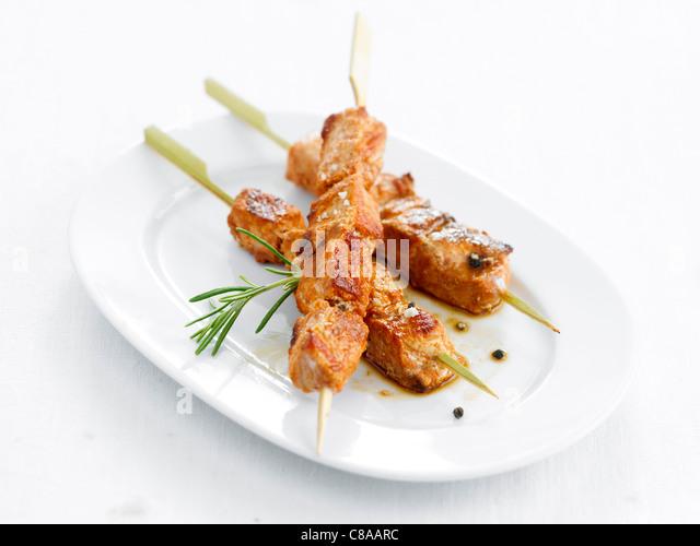 Pork brochettes - Stock Image