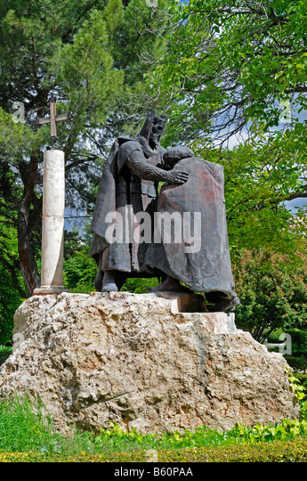 Monument depicting the battles between Moros y Cristianos, Moors and Christians, Cuenca, Castile-La Mancha, Spain, - Stock Image