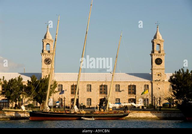Bermuda Dockyard ClockTower Shopping Mall Royal Naval Dockyard - Stock Image
