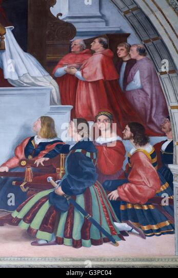 Detail of Mass at Bolsena, 1512-14, by Raphael, Room of Heliodorus, Raphael Rooms, Apostolic Palace, Vatican Museums, - Stock Image