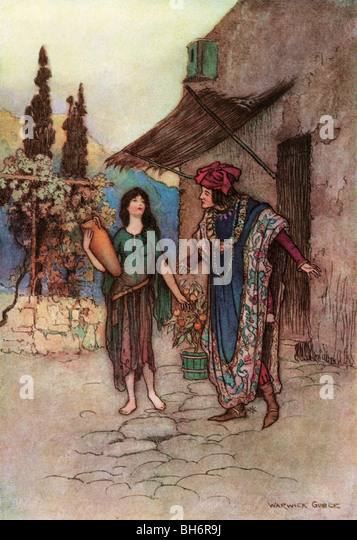 Griselda and the Duke, by Warwick Goble, from The Complete Poetical Works of Geoffrey Chaucer, 1912. - Stock Image