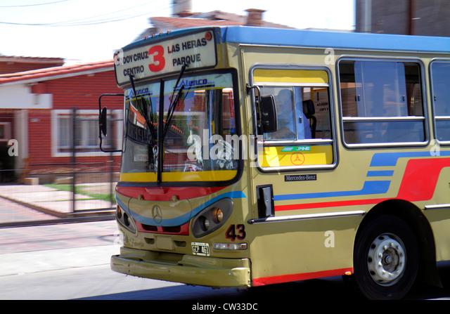 Argentina Mendoza Villa Nueva street scene public bus mass transit driver Mercedes-Benz man driver route destination - Stock Image