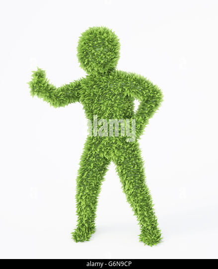 Leaf covered eco friendly 3D character - Stock-Bilder