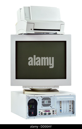 Obsolete PC commuter, printer and CRT monitor. Stack of old, used computer, monitor and printer, electronic waste - Stock Image