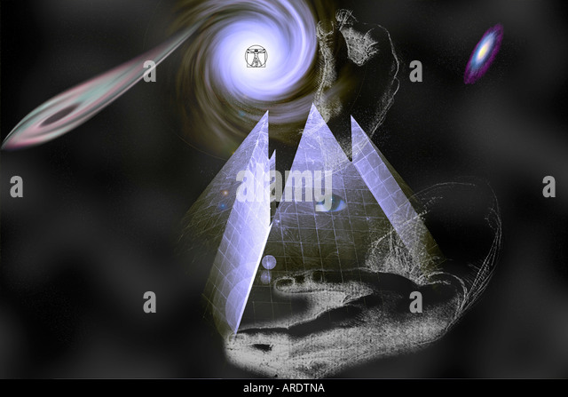 Vitruvian Alien World in the Hands of the Gods and Galaxies - Stock Image