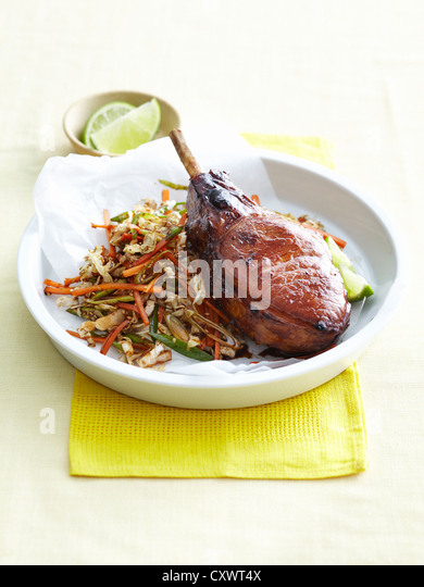 Plate of pork cutlet and cabbage - Stock Image