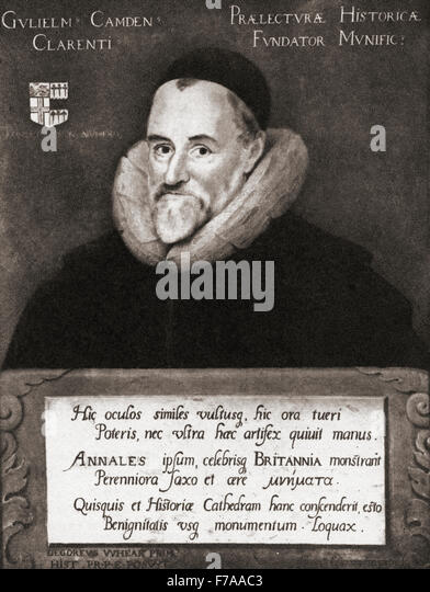 William Camden,1551 ? 1623.  English antiquarian, historian, topographer and herald. After the painting by Gheeraedts. - Stock-Bilder