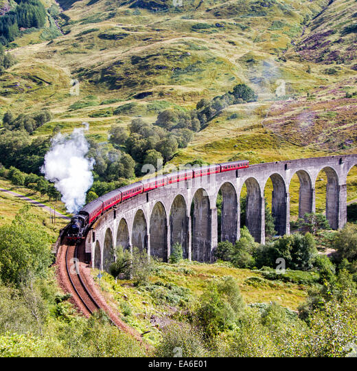 UK, Scotland, Glenfinnan, Jacobite steam train - Stock Image
