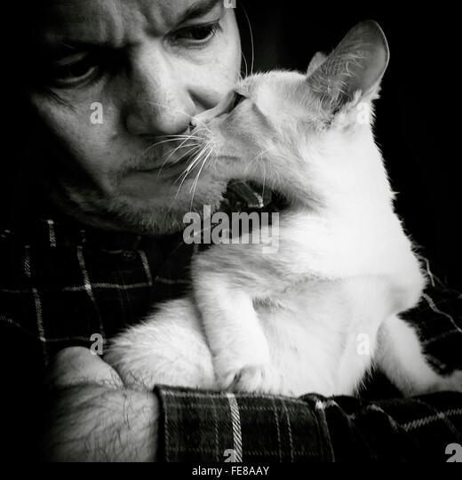 Man Holding While Staring White Cat - Stock Image
