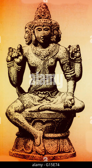 Brahma is the Hindu god (deva) of creation and one of the Trimurti, the others being Vishnu and Shiva. According - Stock Image
