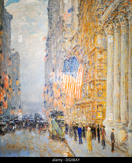 Flags on the Waldorf - by Childe Hassam, 1916 - Stock-Bilder
