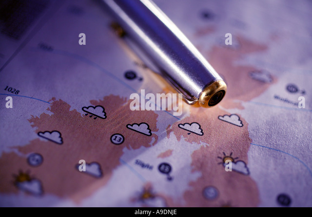 Newspaper weather forecast chart map - Stock Image