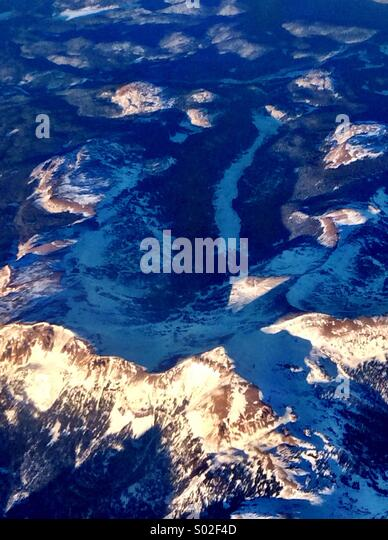 View from the plane over the west US - Stock Image