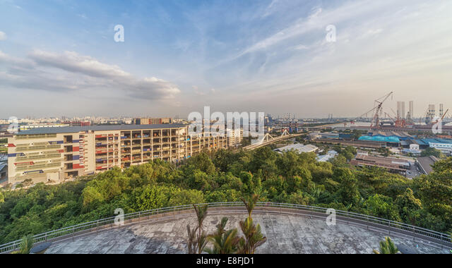 Singapore, Jurong Island, View of Jurong Hill - Stock Image