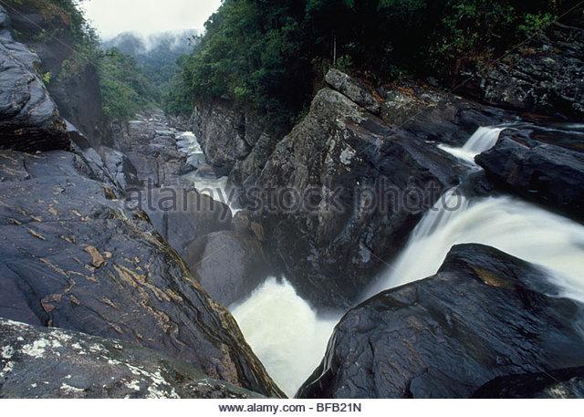 Waterfall along escarpment, Ranomafana National Park, Madagascar - Stock Image