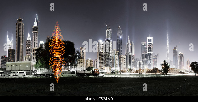 Spectacular skyline at night, Dubai, United Arab Emirates, Middle East - Stock Image