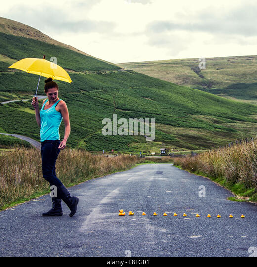 Duck following woman with yellow umbrella - Stock Image